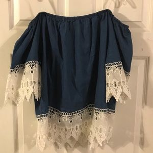 Tops - Cold shoulder denim top